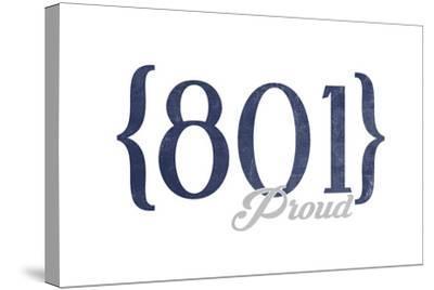 Salt Lake City, Utah - 801 Area Code (Blue)-Lantern Press-Stretched Canvas Print