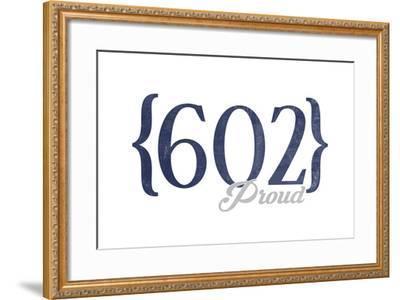 Tempe, Arizona - 602 Area Code (Blue)-Lantern Press-Framed Art Print