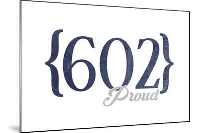 Tempe, Arizona - 602 Area Code (Blue)-Lantern Press-Mounted Art Print