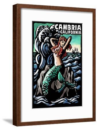 Cambria, California - Mermaid - Scratchboard-Lantern Press-Framed Art Print