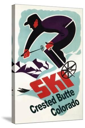 Crested Butte, Colorado - Retro Skier-Lantern Press-Stretched Canvas Print