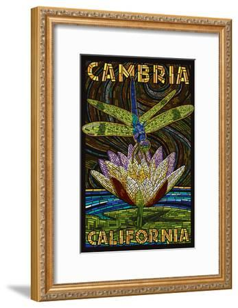 Cambiria, California - Dragonfly - Paper Mosaic-Lantern Press-Framed Art Print