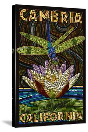 Cambiria, California - Dragonfly - Paper Mosaic-Lantern Press-Stretched Canvas Print