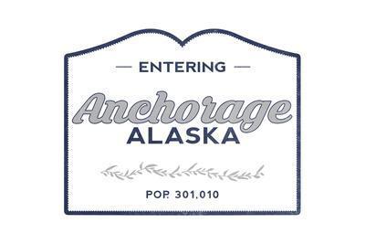 Anchorage, Alaska - Now Entering (Blue)-Lantern Press-Framed Art Print
