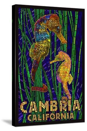 Cambria, California, Seahorses - Paper Mosaic-Lantern Press-Stretched Canvas Print