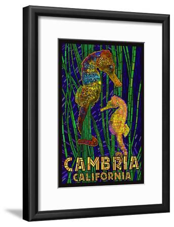 Cambria, California, Seahorses - Paper Mosaic-Lantern Press-Framed Art Print