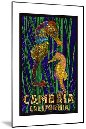 Cambria, California, Seahorses - Paper Mosaic-Lantern Press-Mounted Art Print