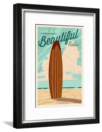 Cambria, California - Life is a Beautiful Ride - Surfboard - Letterpress-Lantern Press-Framed Art Print