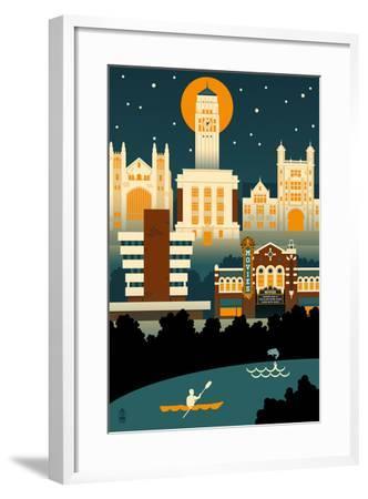 Ann Arbor, Michigan - Retro Skyline (no text)-Lantern Press-Framed Art Print