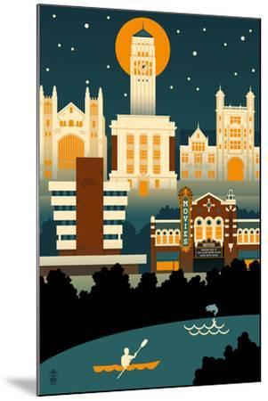 Ann Arbor, Michigan - Retro Skyline (no text)-Lantern Press-Mounted Art Print