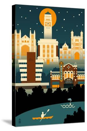 Ann Arbor, Michigan - Retro Skyline (no text)-Lantern Press-Stretched Canvas Print