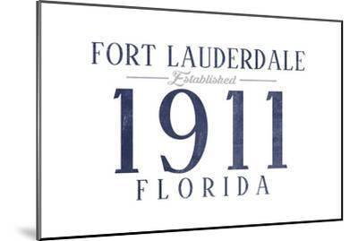 Fort Lauderdale, Florida - Established Date (Blue)-Lantern Press-Mounted Art Print
