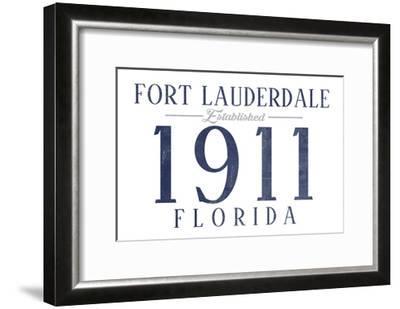 Fort Lauderdale, Florida - Established Date (Blue)-Lantern Press-Framed Art Print