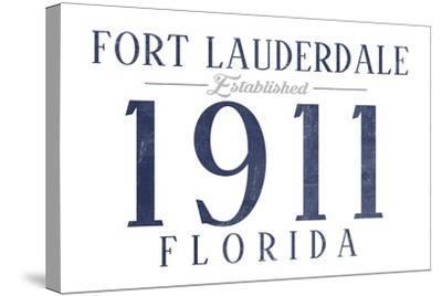 Fort Lauderdale, Florida - Established Date (Blue)-Lantern Press-Stretched Canvas Print
