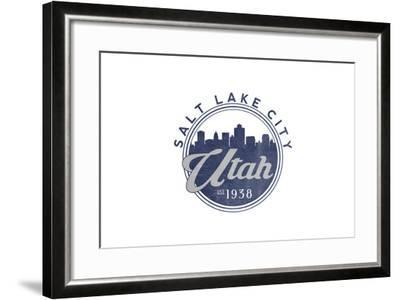 Salt Lake City, Utah - Skyline Seal (Blue)-Lantern Press-Framed Art Print