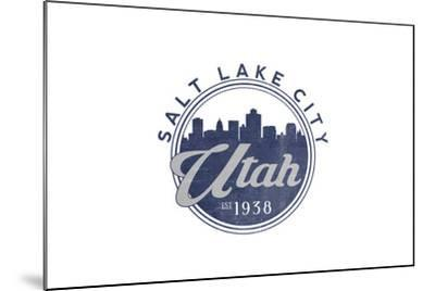 Salt Lake City, Utah - Skyline Seal (Blue)-Lantern Press-Mounted Art Print