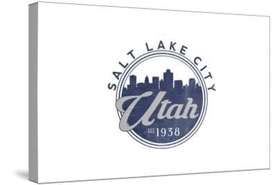 Salt Lake City, Utah - Skyline Seal (Blue)-Lantern Press-Stretched Canvas Print