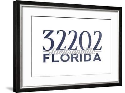 Jacksonville, Florida - 32202 Zip Code (Blue)-Lantern Press-Framed Art Print