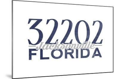 Jacksonville, Florida - 32202 Zip Code (Blue)-Lantern Press-Mounted Art Print