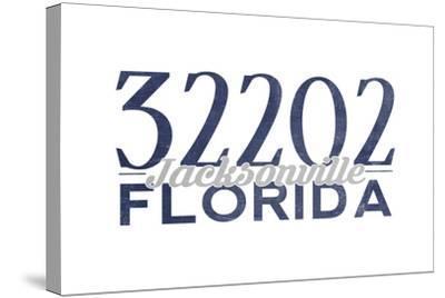 Jacksonville, Florida - 32202 Zip Code (Blue)-Lantern Press-Stretched Canvas Print