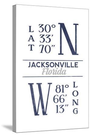 Jacksonville, Florida - Latitude and Longitude (Blue)-Lantern Press-Stretched Canvas Print