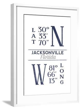 Jacksonville, Florida - Latitude and Longitude (Blue)-Lantern Press-Framed Art Print
