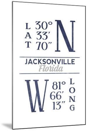 Jacksonville, Florida - Latitude and Longitude (Blue)-Lantern Press-Mounted Art Print
