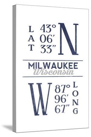 Milwaukee, Wisconsin - Latitude and Longitude (Blue)-Lantern Press-Stretched Canvas Print