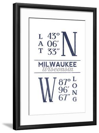 Milwaukee, Wisconsin - Latitude and Longitude (Blue)-Lantern Press-Framed Art Print