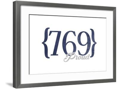 Jackson, Mississippi - 769 Area Code (Blue)-Lantern Press-Framed Art Print