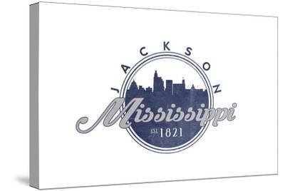 Jackson, Mississippi - Skyline Seal (Blue)-Lantern Press-Stretched Canvas Print
