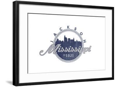 Jackson, Mississippi - Skyline Seal (Blue)-Lantern Press-Framed Art Print