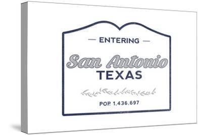 San Antonio, Texas - Now Entering (Blue)-Lantern Press-Stretched Canvas Print