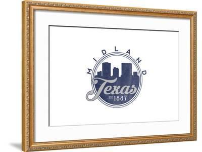 Midland, Texas - Skyline Seal (Blue)-Lantern Press-Framed Art Print