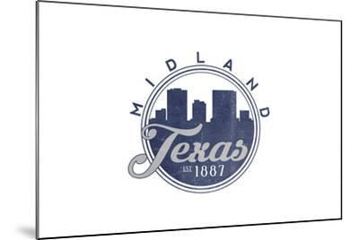 Midland, Texas - Skyline Seal (Blue)-Lantern Press-Mounted Art Print