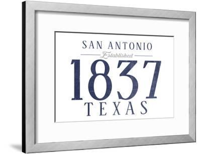 San Antonio, Texas - Established Date (Blue)-Lantern Press-Framed Art Print