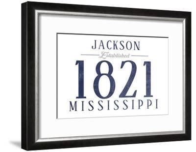 Jackson, Mississippi - Established Date (Blue)-Lantern Press-Framed Art Print