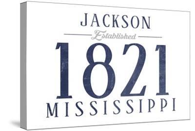 Jackson, Mississippi - Established Date (Blue)-Lantern Press-Stretched Canvas Print