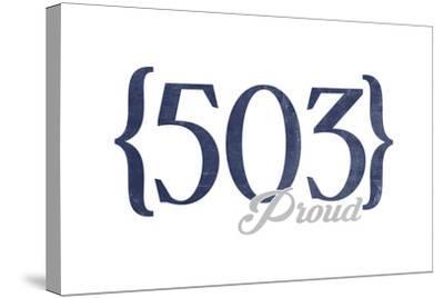 Portland, Oregon - 503 Area Code (Blue)-Lantern Press-Stretched Canvas Print