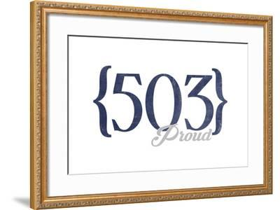 Portland, Oregon - 503 Area Code (Blue)-Lantern Press-Framed Art Print