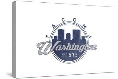 Tacoma, Washington - Skyline Seal (Blue)-Lantern Press-Stretched Canvas Print