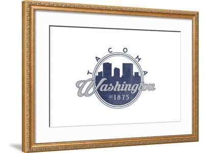 Tacoma, Washington - Skyline Seal (Blue)-Lantern Press-Framed Art Print
