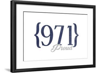 Portland, Oregon - 971 Area Code (Blue)-Lantern Press-Framed Art Print