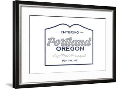 Portland, Oregon - Now Entering (Blue)-Lantern Press-Framed Art Print