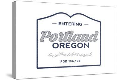 Portland, Oregon - Now Entering (Blue)-Lantern Press-Stretched Canvas Print