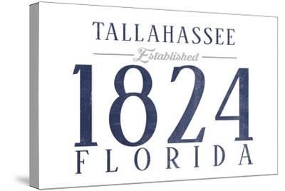 Tallahassee, Florida - Established Date (Blue)-Lantern Press-Stretched Canvas Print