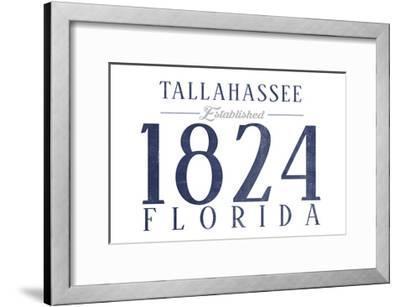Tallahassee, Florida - Established Date (Blue)-Lantern Press-Framed Art Print