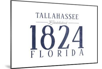 Tallahassee, Florida - Established Date (Blue)-Lantern Press-Mounted Art Print