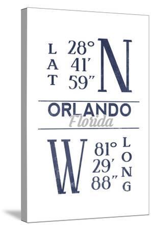 Orlando, Florida - Latitude and Longitude (Blue)-Lantern Press-Stretched Canvas Print