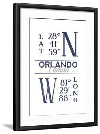 Orlando, Florida - Latitude and Longitude (Blue)-Lantern Press-Framed Art Print